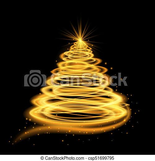 glowing, árvore, natal, ouro - csp51699795