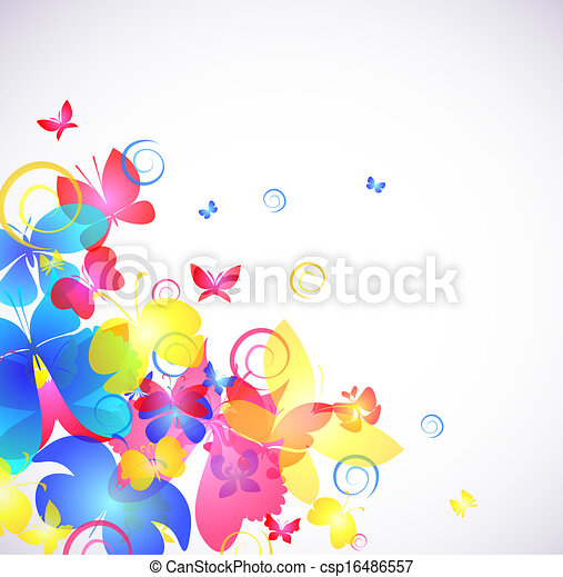 Glowing abstract background with butterfly - csp16486557