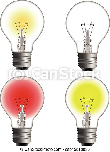 Glowing And Turned Off Electric Light Bulb   Csp45818836