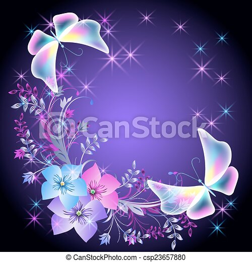 Glowing background with flowers and butterflies - csp23657880