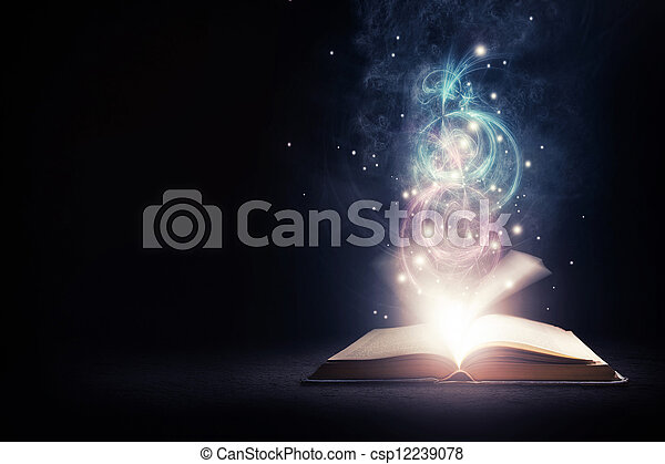 Glowing Book with colors - csp12239078