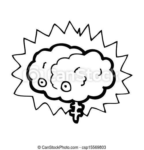 glowing brain cartoon - csp15569803
