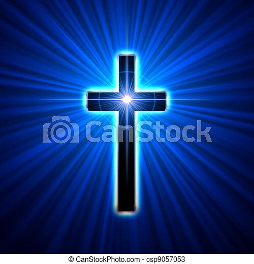 glowing cross - csp9057053