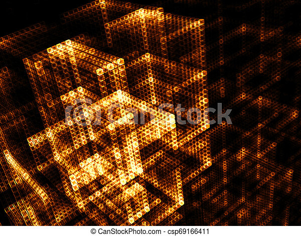 Glowing cubes - abstract digitally generated image - csp69166411