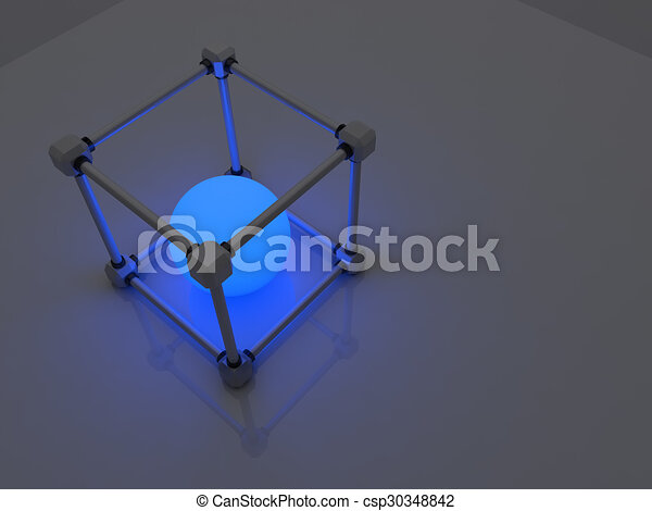 glowing cubes of fluorescent tubes abstract composition of