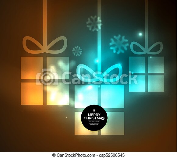 Glowing gift boxes with snowflakes, Christmas and New Year template - csp52506545