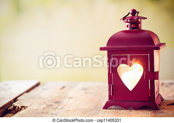 Glowing lantern with a heart - csp11405331