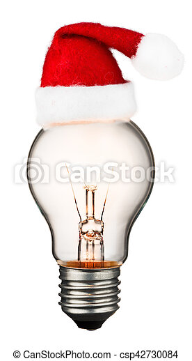 Glowing light bulb isolated on white background - csp42730084