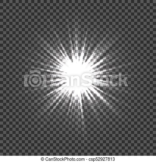 Glowing Light Effects With Transparency Explosion Transparent Background Lens Flares Rays Stars And Sparkles Bokeh Bright Star Vector
