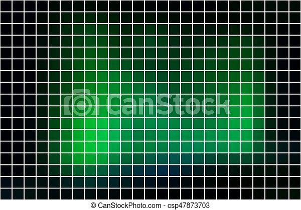 Glowing Neon Green Square Mosaic Background Over White