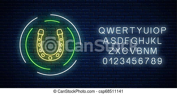 Glowing neon sign with horseshoe in circle frame with alphabet. Horse shoe emblem in neon style for luck. - csp68511141