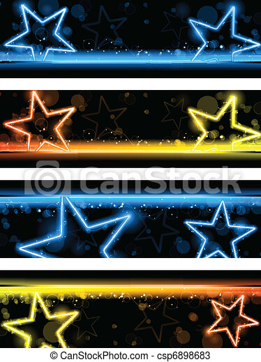 Glowing Neon Stars Banner Background Set of Four - csp6898683