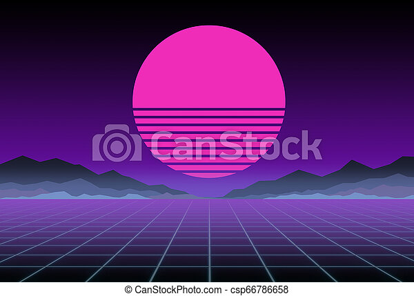 Glowing neon, synthwave and retrowave background template  Retro video  games, futuristic design, rave music, 80s computer graphics and sci-fi  concept
