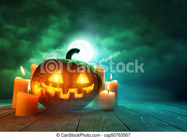 Glowing Pumpkin On Halloween - csp50763567