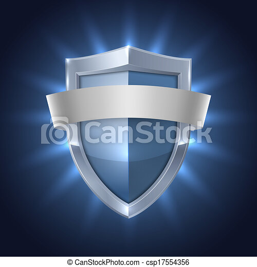 Glowing shield with blank ribbon safety badge - csp17554356