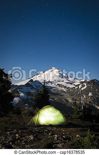 Glowing Tent At Night Beneath Mount Baker Washington State Stock Photo & Glowing tent at night beneath mount baker washington state ...