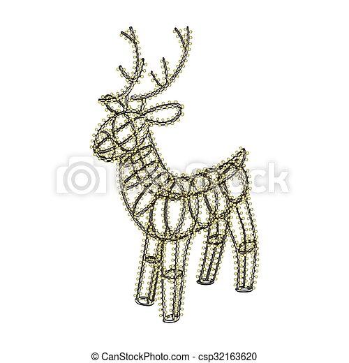 Glowing xmas deer sculpture garland on metal frame. Glowing ...