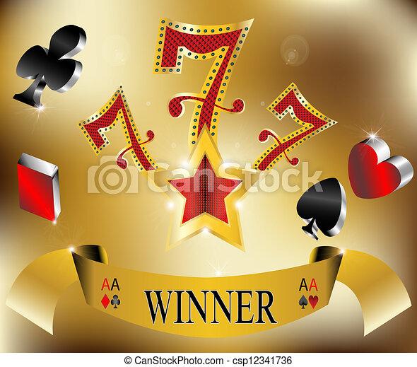 gluecksspiel, 777, gewinner, sieben, glücklich - csp12341736