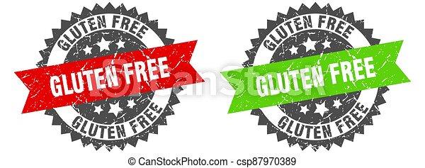 gluten free band sign. gluten free grunge stamp set - csp87970389