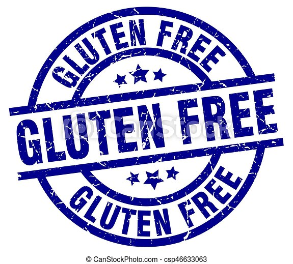 gluten free blue round grunge stamp - csp46633063