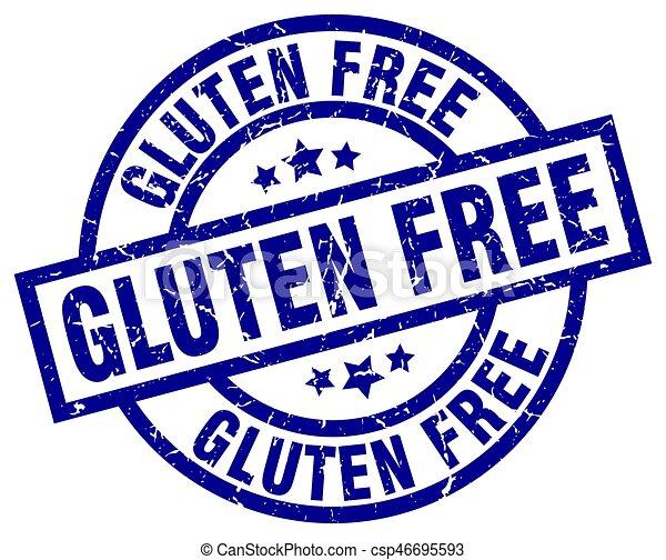 gluten free blue round grunge stamp - csp46695593