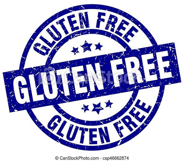 gluten free blue round grunge stamp - csp46662874