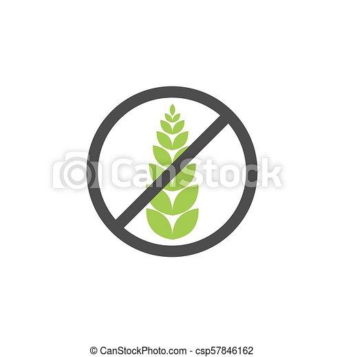 Gluten free grain vector icon symbol  Wheat healthy food label  Gluten  bread diet sign