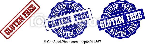 GLUTEN FREE Grunge Stamp Seals - csp64014567