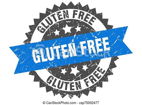 gluten free grunge stamp with blue band. gluten free - csp75002477
