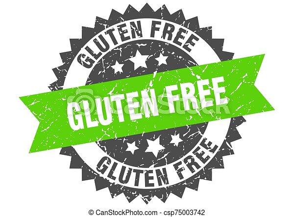 gluten free grunge stamp with green band. gluten free - csp75003742