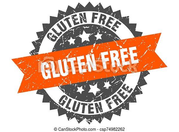 gluten free grunge stamp with orange band. gluten free - csp74982262