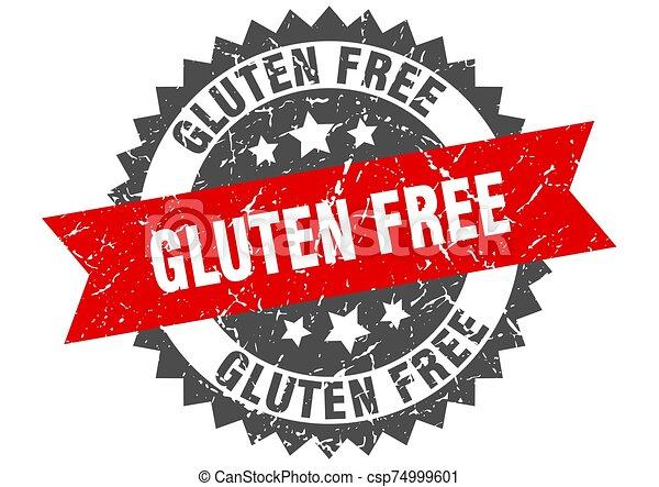gluten free grunge stamp with red band. gluten free - csp74999601