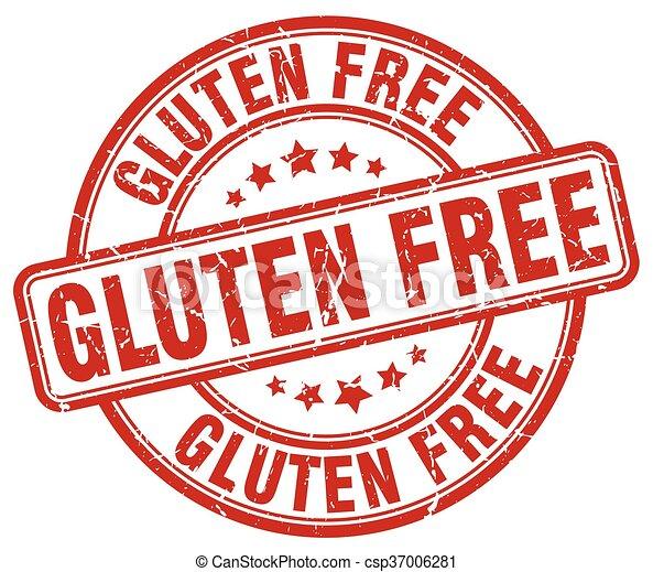 gluten free red grunge round vintage rubber stamp - csp37006281