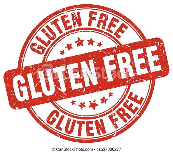 gluten free red grunge round vintage rubber stamp - csp37006277