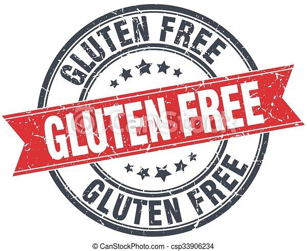 gluten free red round grunge vintage ribbon stamp - csp33906234