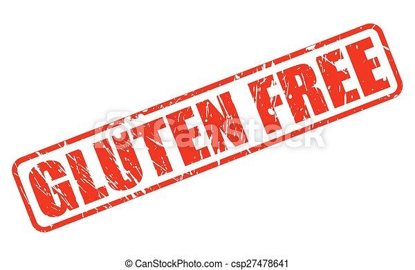Gluten free red stamp text - csp27478641