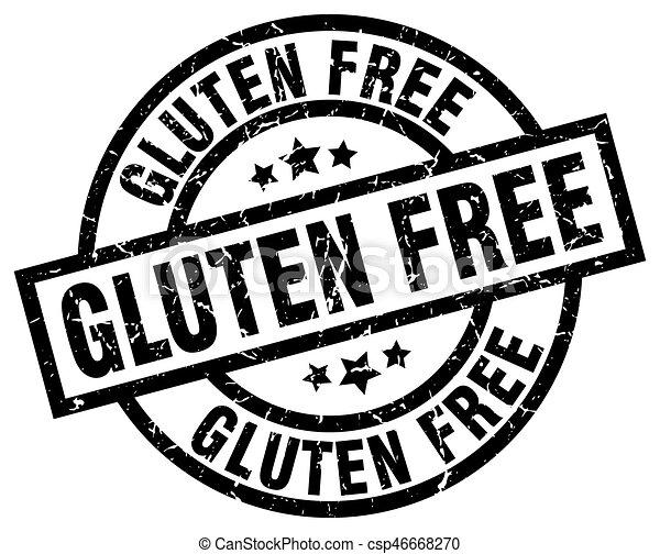 gluten free round grunge black stamp - csp46668270
