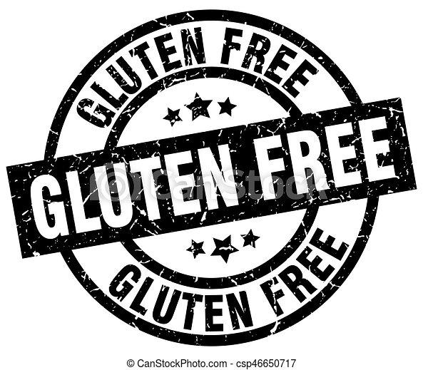 gluten free round grunge black stamp - csp46650717