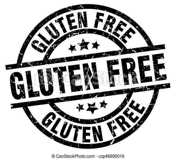 gluten free round grunge black stamp - csp46695016