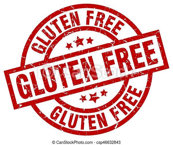 gluten free round red grunge stamp - csp46632843