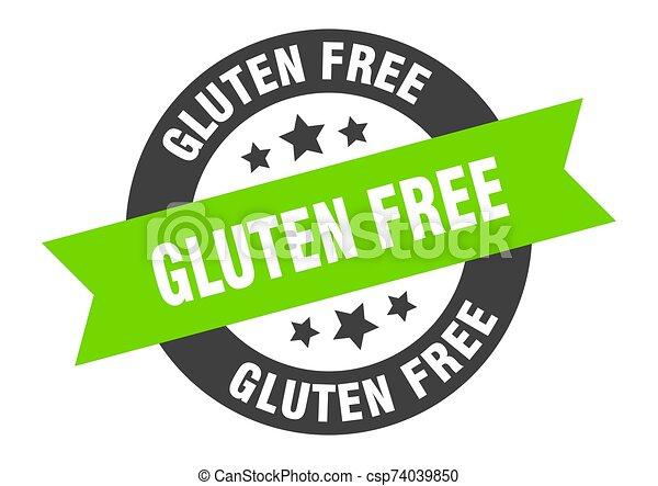 gluten free sign. gluten free black-green round ribbon sticker - csp74039850