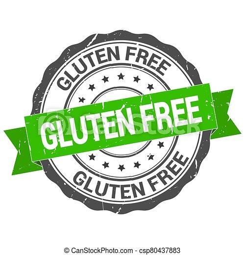 Gluten free stamp. Round grunge vintage ribbon. Gluten free sign - csp80437883