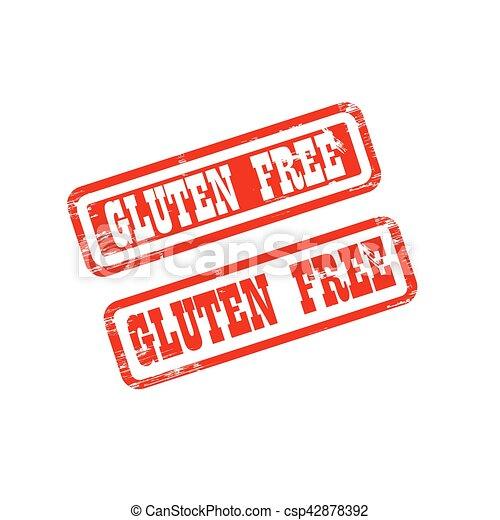 GLUTEN FREE stamp sign text red. - csp42878392