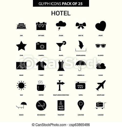 glyph, ホテル, ベクトル, セット, アイコン - csp63865486