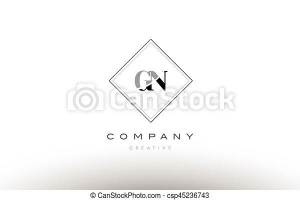 Gn G N Retro Vintage Black White Alphabet Letter Logo Gn G N