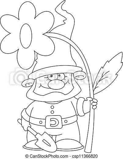 gnome and flower outlined - csp11366820