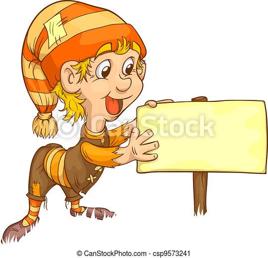 gnome and plaque - csp9573241