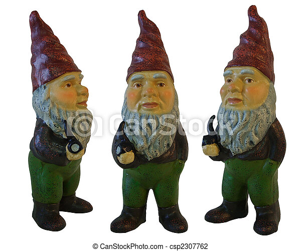 gnomes, 3, branca, jardim, isolado - csp2307762