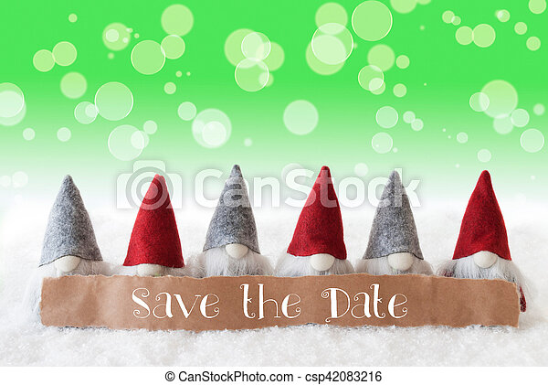 Save The Date Christmas Cards.Gnomes Green Background Bokeh English Text Save The Date