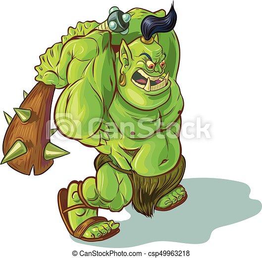 Los dibujos animados troll orco o o ogro con club criado - csp49963218